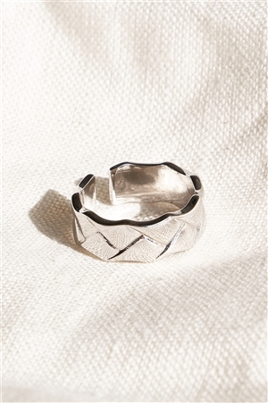 Silver Metallic Textured Ring
