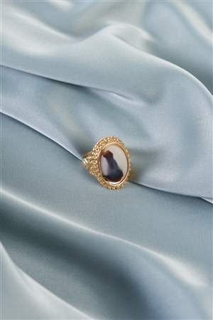 Ivory Brown Oval Gemstone Ring