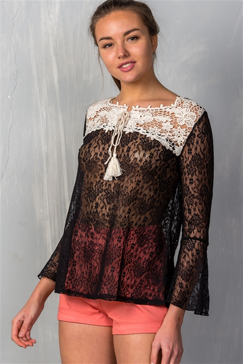 Black Allover Lace with Lace Detail Contrast Top