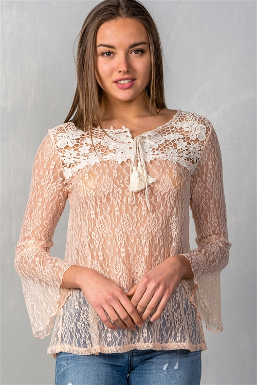 Peach Allover Lace Self-Tie Neck W/ Tassel Top
