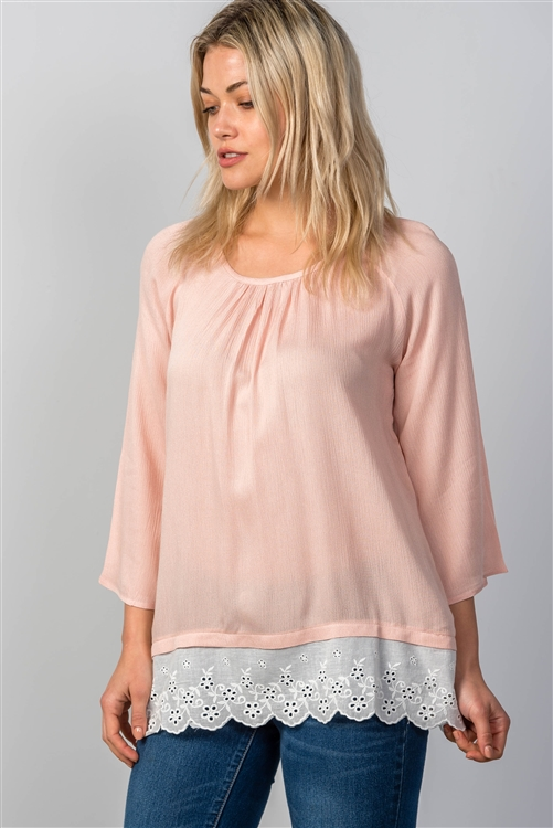 Pink Eyelet Contrast Top
