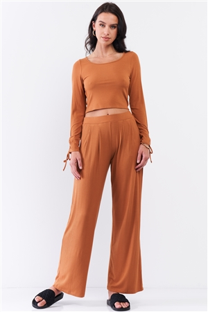Honey Gold Ribbed Ruched Sleeve Detail Crop Top & Pleated Mid-Rise Wide Leg Pant Set /3-2-1