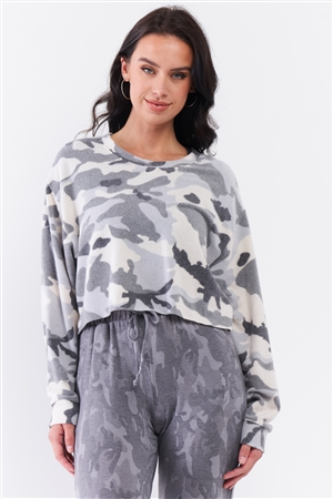 Ivory Grey Camo Fuzzy Print Loose Fit Dropped Shoulder Round Neck Long Sleeve Raw Cropped Track Top /3-2-1