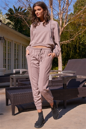 Mocha Inside-Out Detail Long Sleeve Raw Hem V-Neck Relaxed Fit Hooded Sweatshirt /3-2-1