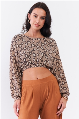 Taupe & Cream Cheetah Round Neck Knit Construction Dropped Shoulders Long Sleeve Elasticated Waist Cropped Top /3-2-1