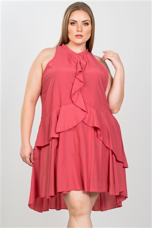 Baked Blush Plus Size Draped-Ruffle Front Sleeveless Swing Mini Dress