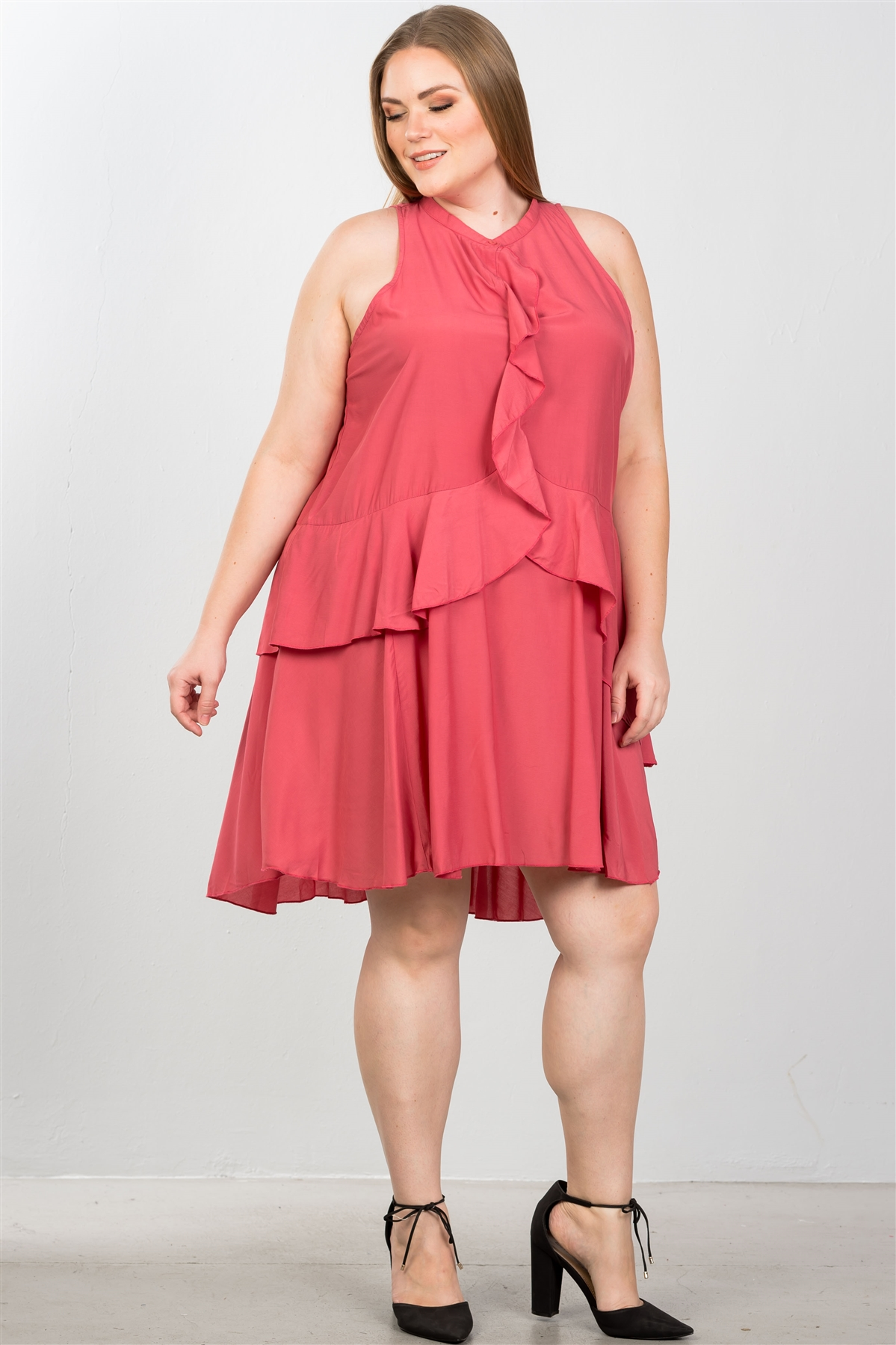 Baked Blush Plus Size Draped-Ruffle Front Sleeveless Swing Midi Dress /  2-2-2