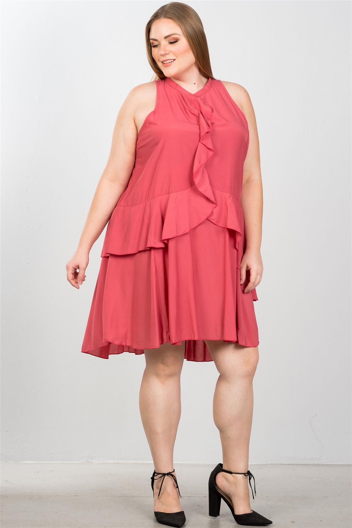 Baked Blush Plus Size Draped-Ruffle Front Sleeveless Swing Midi Dress /  2-2-2