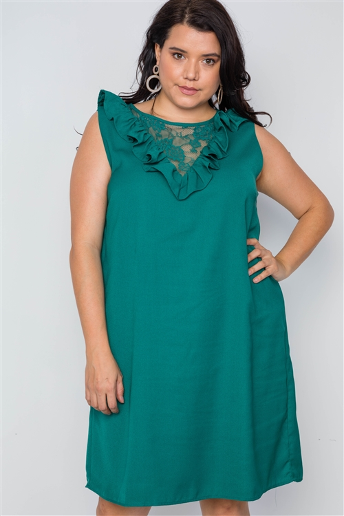 Plus Size Green Lace Insert Shift Mini Dress