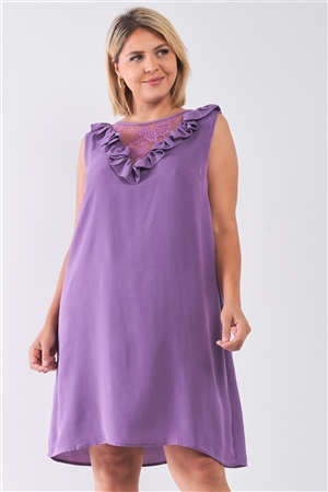 Plus Size Purple Lace Insert Shift Mini Dress