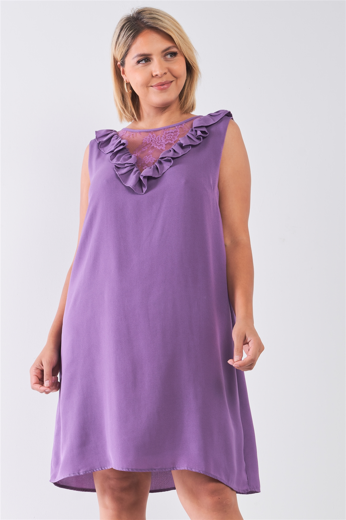08573ee41486 Plus Size Purple Lace Insert Shift Midi Dress  2-2-2