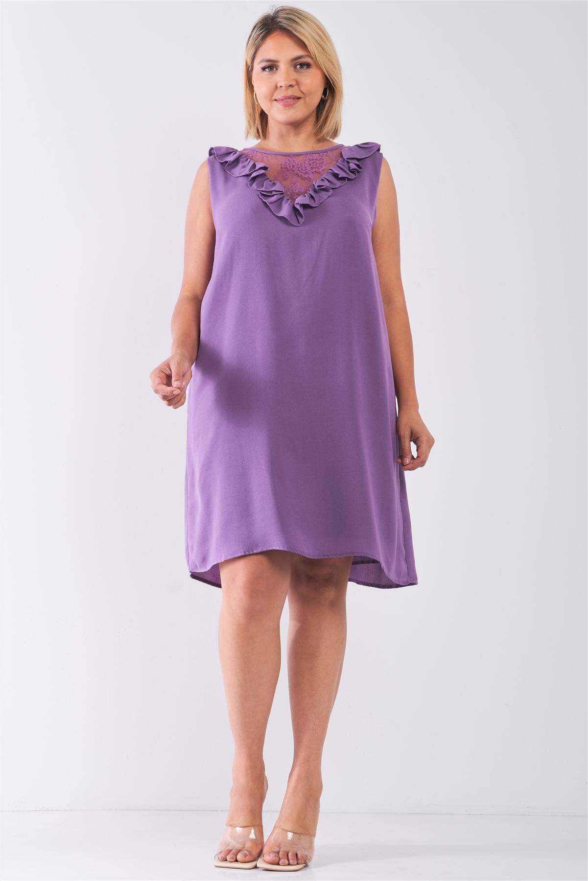 Plus Size Purple Lace Insert Shift Midi Dress /2-2-2