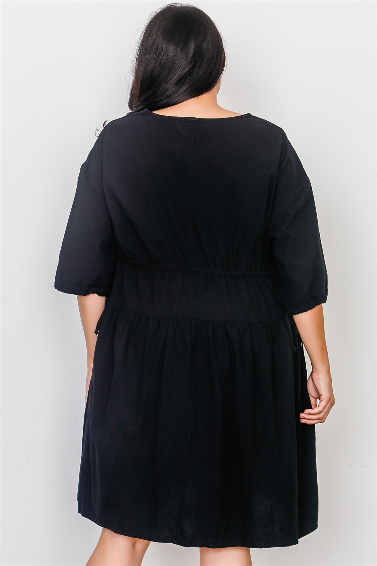 Plus Size Black Tie Sleeve Loose Midi Dress / 2-2-2