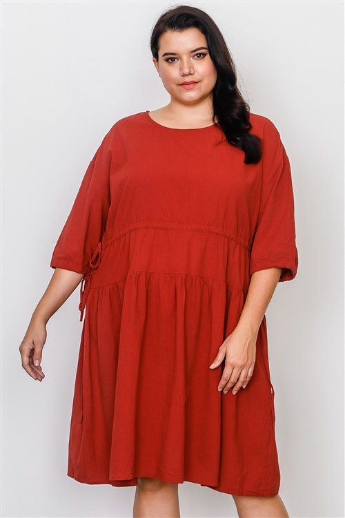 Plus Size Rust Tie Sleeve Loose Midi Dress