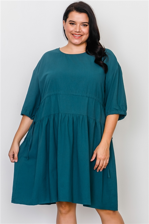 Plus Size Teal Tie Sleeve Loose Midi Dress