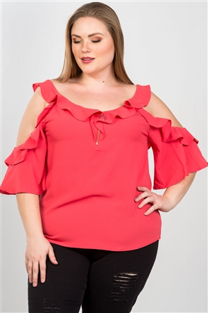 Coral Plus Size Cold Shoulder Ruffle Zipper O-Ring Top