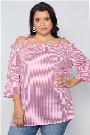 Fuchsia Plus Size Striped Cold-Shoulder Top