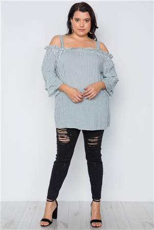 Olive Plus Size Striped Cold-Shoulder Top