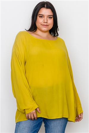 Boho Plus Size Lime Semi-Sheer Loose Top