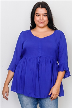 Boho Plus Size Royal Front Drawstring Babydoll Top