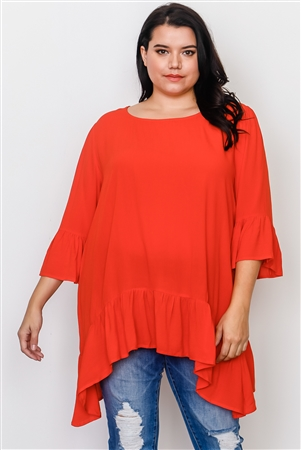 Boho Plus Size Red Ruffle Hem Hi-Low Top