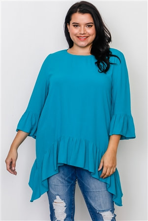 Plus Size Turquoise Ruffle Hem Hi-Low Top