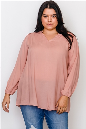 Plus Size Blush V Neck Hi-Low Frill Trim Top