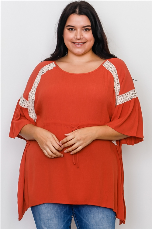 Boho Plus Size Rust Drawstring Waist Crochet Trim Top