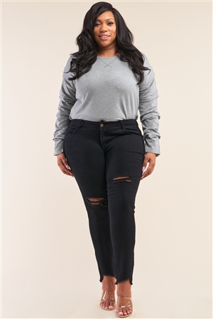 Plus Size Solid Black Low-Mid Rise Tight Fit Ripped Denim Jeans