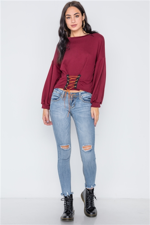 Burgundy Long Sleeve Lace Up Sweater