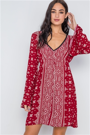 Burgundy Paisley Print Bell Sleeves Mini Boho Dress