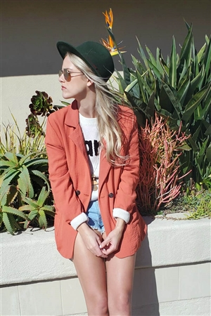 Satin Rust Orange Double Breasted Oversized Blazer