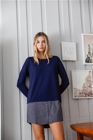 Navy Knit Combo Long Sleeve Sweater Dress