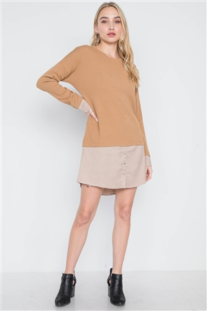 Taupe Knit Combo Long Sleeve Sweater Dress