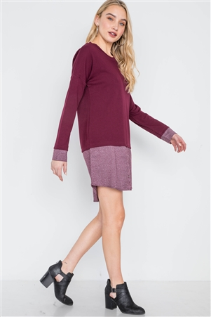 Wine Knit Combo Long Sleeve Sweater Dress