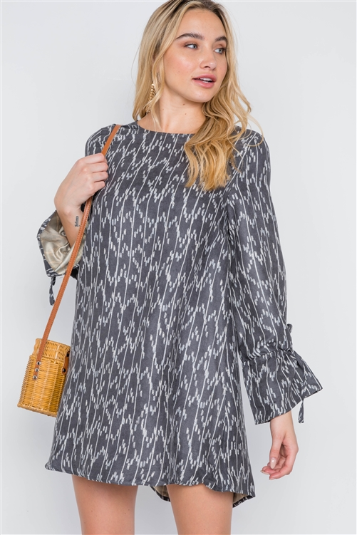 Black Charcoal Long Sleeve Abstract Print Dress