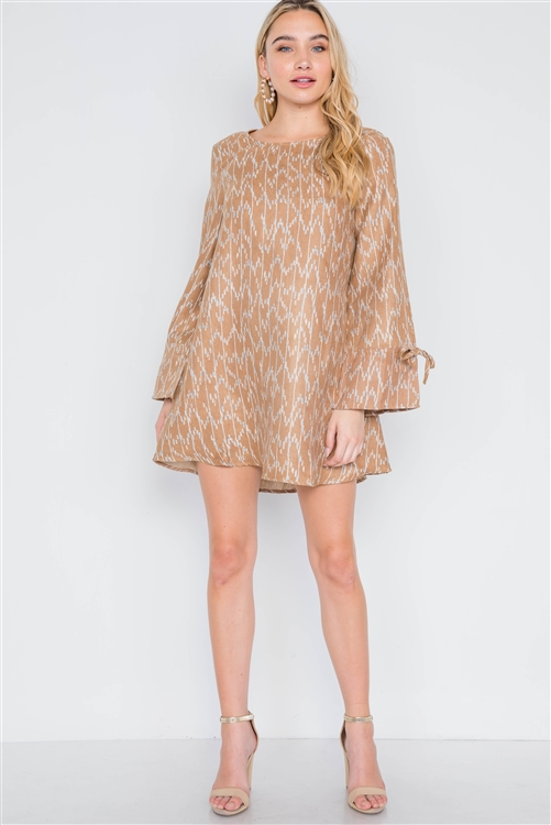 Camel  Long Sleeve Abstract Print Dress
