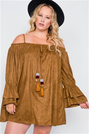 Plus Size Camel Faux Suede Mini Dress