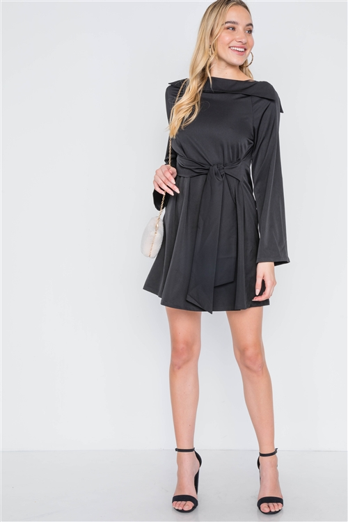 Black Straight Neck Solid Front-Tie Dress