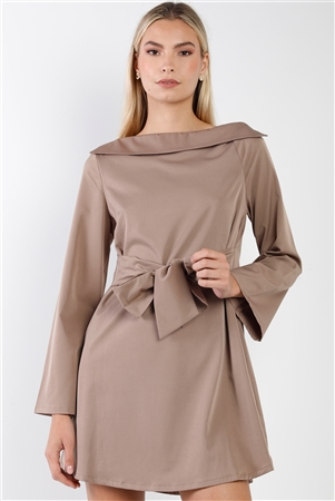 Mocha Straight Neck Solid Front-Tie Dress