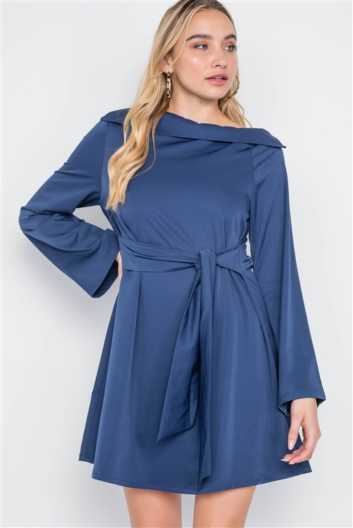 Navy Straight Neck Solid Front-Tie Dress