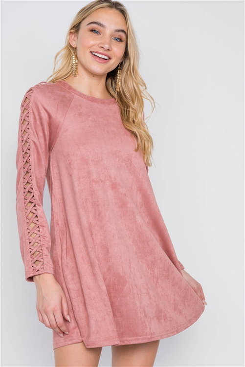 Blush Faux Suede Strap Sleeves Mini Shirt Dress