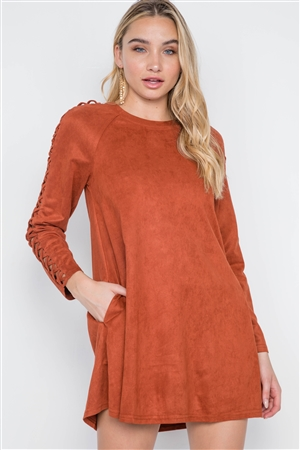 Brick Faux Suede Strap Sleeves Mini Shirt Dress