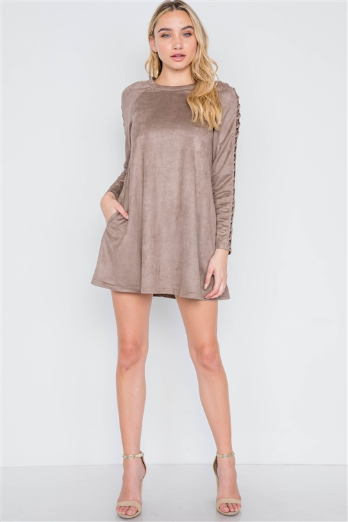 Grey Taupe Faux Suede Strap Sleeves Mini Shirt Dress