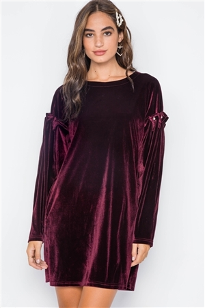 Wine Velvet Long Sleeve Pearl Detail Mini Dress