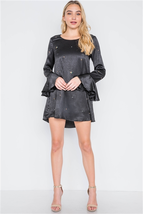 Black Long Bell Sleeves Rhinestone Mini Dress