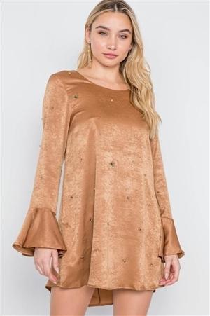 Mocha Bell Sleeves Rhinestone Mini Dress