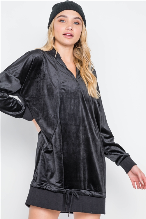 Black Velvet Long Sleeve Hooded Mini Shirt Dress