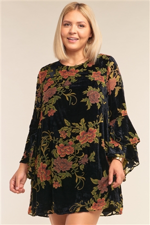 Junior Plus Size Black Velvet Floral Pattern Long Angel Sleeve Round Neck Relaxed Fit Mini Dress /3-2-1