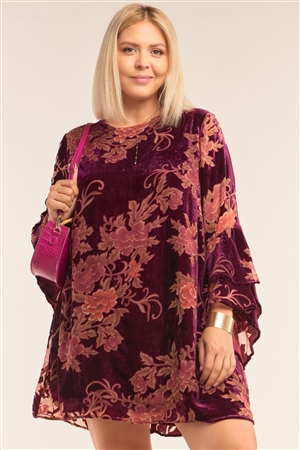 Junior Plus Size Wine Red Velvet Floral Pattern Long Angel Sleeve Round Neck Relaxed Fit Mini Dress /3-2-1